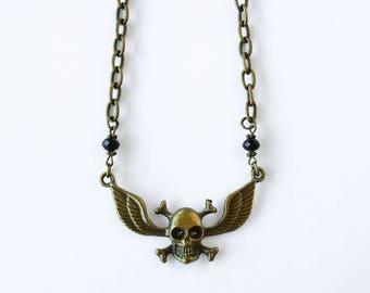 Skull Choker / Winged Skull Necklace / Antique Bronze / Gift For Her /  Biker Jewelry / Biker Chic /Biker Style / Skull and Crossbones