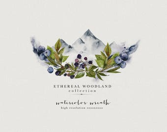 Watercolor floral wreath - Watercolor mountains - Woodland wreath - Berry Wreath - Mountains Clipart - Greenery Clipart - Greenery Wreath