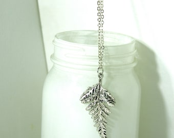 "Fern pendant antique silver 30"" necklace"