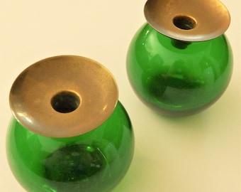 "1950s Gunnar Ander Ystad Sweden Candleholders, Green Glass with Brass Cuffs, Lindshammar, Original ""Made in Sweden"" Stickers"
