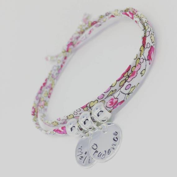 Grigri MOM Liberty - Liberty Eloise Bracelet pink with 2 custom ENGRAVINGS