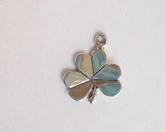 Sterling silver Irish shamrock charm- lucky shamrock pendant