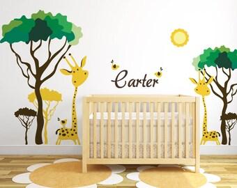 giraffe wall decal jungle safari wall decal baby nursery ideas