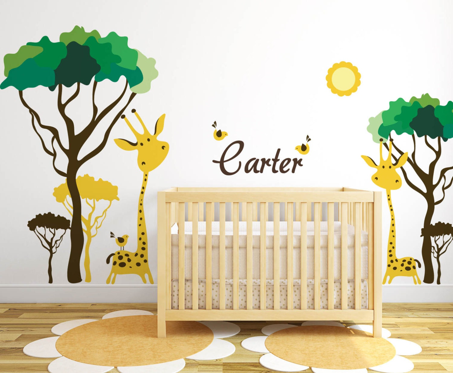 Baby Nursery Ideas Safari Giraffe and Birds Decals for Walls