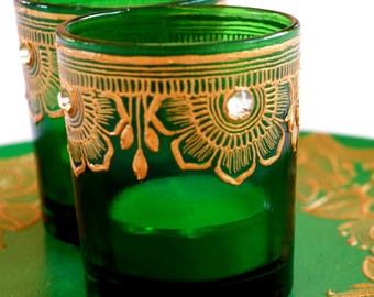 Green Votive Glass Candle Holders- Tealight Holder- Colours available- Wedding Favor- Party Favors- Mothers day gifts