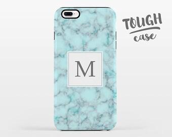 Aqua Blue Marble Monogram iPhone Case Personalized Custom iPhone X Case iPhone 8 Case iPhone 7 Plus Case iPhone 6 Plus iPhone 6S TOUGH