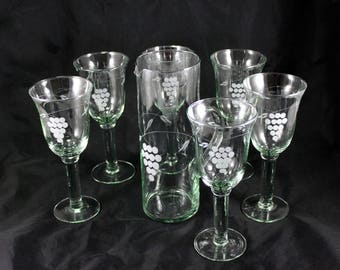 Vintage Glass Pitcher with Six Matching Goblets, Etched Grape Cluster Design