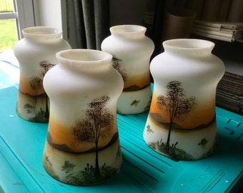 Antique Porcelain Hand Painted Hanging Lamp Globes Mountains and Trees Qty of 4