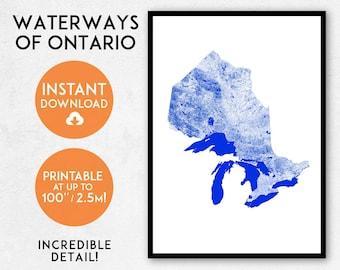 Ontario map print, Printable Ontario map art, Ontario print, Ontario art, Ontario poster, Ontario wall art, Ontario gift, Canada map print