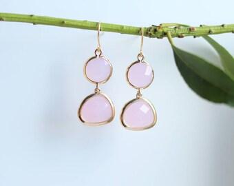 Rose Quartz Earrings - Gold Dangle Earrings - Stone Earrings - Drop Earrings - Birthstone Earrings - Pink Quartz Jewellery - Quartz Earrings