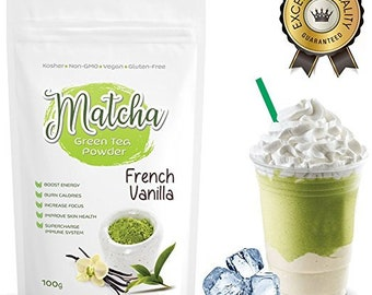 Japanese French Vanilla Matcha (100g) Rich in Antioxidants, Supports Weight Loss & Boosts Energy- Natural Flavor, No Sugar-FREE USA Shipping