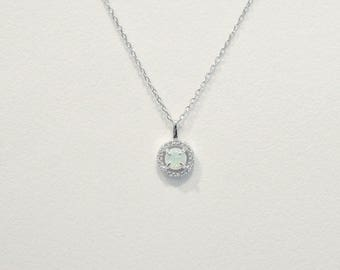 Round Simulated Opal Halo CZ Sterling Silver Pendant Necklace, Hypoallergenic, Adjustable Chain, Dainty Opalite Necklace, Gift For Her