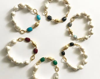 "Baroque Pearl and Gemstones Bracelet, Ruby, Sapphire, Emerald, Labradorytre, Onyx and Turquoise Bracelet, 7.5""long, 22K Gold Plated"