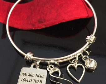 Melanoma, Skin Cancer Awareness Charm Bracelet, Narcolepsy - Black Ribbon Gift - Your Are More Loved than You Know