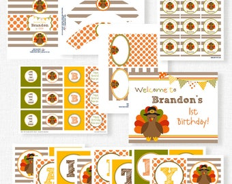 Turkey Birthday Party Printables, Turkey Party Decorations, Little Turkey Birthday, Printable Party Package