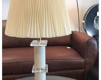 Mid Century Modern Ivory Colored Lucite Table Lamp