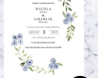 Editable summer wedding invitation