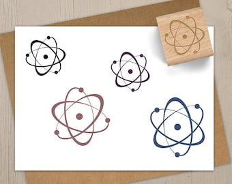 Atom Stamp, Science Gift, Chemistry Stamp, Science Stationary, Geek Stamp, Atom Rubber Stamp, Chemistry Gift, Science Journal Stamp 074