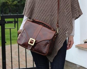 Leather Handbag, Leather Purse, Crossbody, Top Handle, Distressed Brown