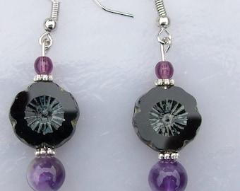 Black Flower with Purple Earrings