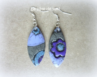 Blue gray purple calissons handmade polymer clay earrings