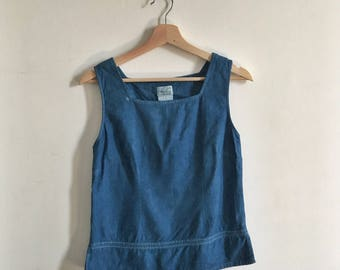 Sleeveless 90s Vintage Linen Shell Tank Top Overdyed Natural Indigo Size Small // Zero Waste Ethical Fashion Secondhand