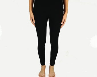 Women's ultra soft bamboo jersey leggings, black leggings with comfort waistband for ladies, women's clothing, made to order