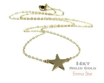14KT SOLID GOLD Star Necklace in 14Kt Solid Yellow Gold and White Gold- As seen on Emma Watson in The Perks of Being a Wallflower Movie