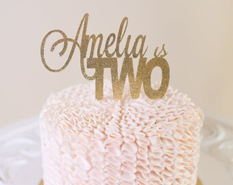 Glitter Custom Cake Topper. Personalized Birthday or Wedding