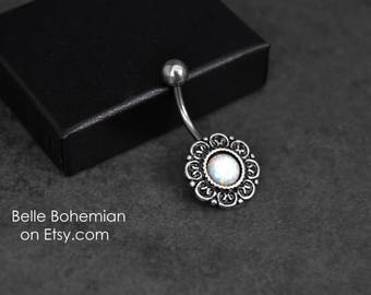 Belly Button Ring - Opal - White Opal - Belly Ring - Navel Ring - Opal Belly Jewelry - 14G - Surgical Steel - Opal Navel Ring