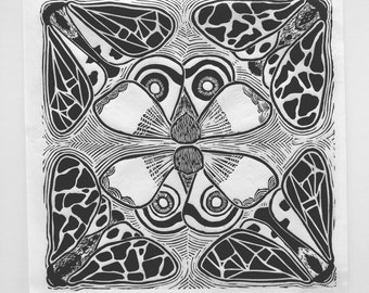 kaleidoscope - Moths - Black - Limited Edition Original Linocut