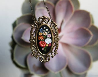 Farmer's market bouquet no. 6- hand embroidered necklace, summer, rainbow, flowers, floral, zinnias, queen anne's lace