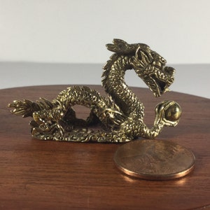 Miniature Figurine Brass Chinese Dragon Animal Metalwork Art #1