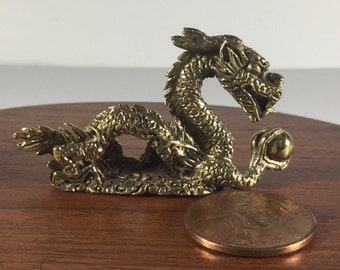 Miniature Figurine Brass Chinese Dragon Animal Metalwork Art #1