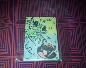 Aceo art card Frog and Coffee
