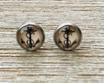 Anchor Nautical Stainless Steel Stud Earrings