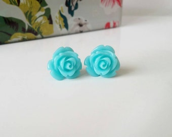 Blue stud earrings, blue studs, rose stud earrings, resin flower studs, blue stud earrings with gold posts