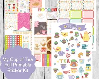 Printable Planner Stickers, My Cup of Tea, Cafe, Erin Condren Life Planner, S05-MyCupOfTea