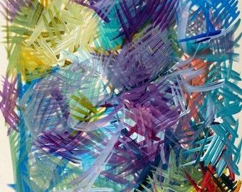 "Acrylics - on paper - CeruleanPurpleYellow - Acrylics 11""x12"" 2001"