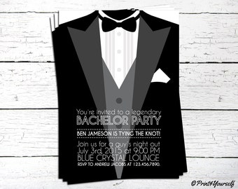 Bachelor Invite // Personalized Printable Tuxedo Tux Bachelor Invitation // Tux invite // Tuxedo Invite // Bachelor Invite // Bachelor Party