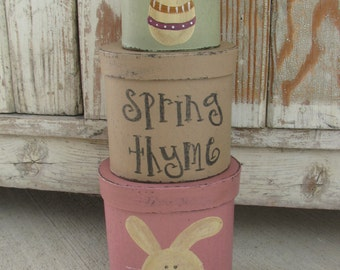 Primitive Hand Painted Easter Bunny and Easter Egg Stacking Boxes  GCC2738