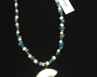 Blue multi stone chip, silver seed bead, fresh water pearl w/shell & sterling pendant necklace.