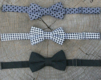 Boys Bow Tie in Black and White, Boys Formal Outfit, Ring Bearer Outfit, Toddler Bow Tie, Baby bow Tie, Paige Boy Outfit,
