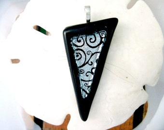 Fused Glass Jewelry / Dichroic Silver and Black Swirls Pendant