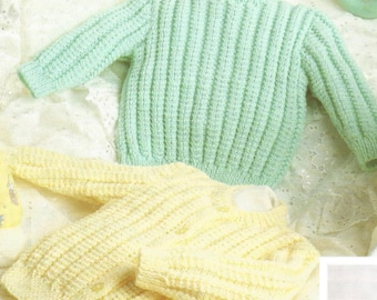 Knit Baby Pullover and Cardigan Sweater Pdf /OhhhBabyBaby/ Vintage Pattern retro girl or boy aran look jumper pdf digital download