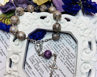 Memory flower finger rosary, one decade rosary, funeral flower bead