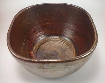 Shino ceramic bowl, bronze copper gold, square pottery bowl, unique bowl, rice bowl, salad bowl, hand made wheel thrown, shiny, side bowl