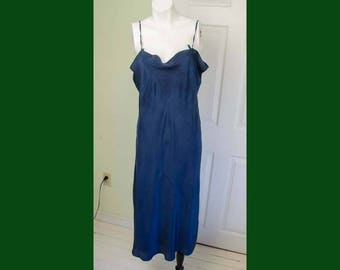 Vintage 1920's Navy Blue Silk Woman's Slip with Applique