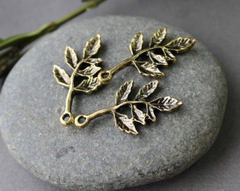 6 Twig Charms - 27x15 mm - Branch Connector link Pendant, Branch Connectors Twig Pendants, Tree charm pendant,  Leaf Twig Charm Pendant