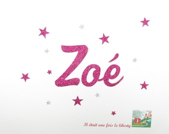 Applied fusible customizable glitter name of 3 letters (example is Zoe) glitter fabric (colors)